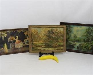 "Vintage 3 Piece Framed Art Prints ""At The Rapids"", ""Arabian Love"" & ""Duck Pond"""