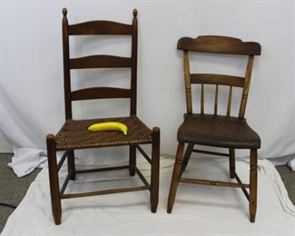 Vintage wooden armless chairs