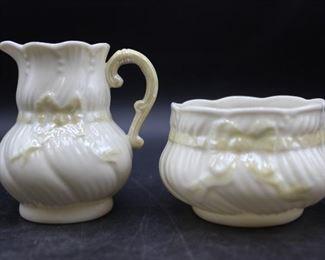 Vintage Beleek sugar and cream pitcher