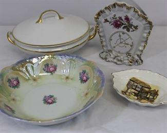 Vintage Porcelain Lot 4: Serving bowl, casserole, wall planter, nut dish