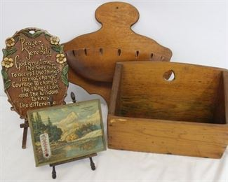 Grouping of wood holders, advertising thermometer, Serenity Prayer