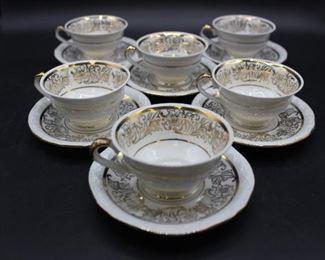 Set of 6 vintage Bavaria demi-tasse cups/saucers