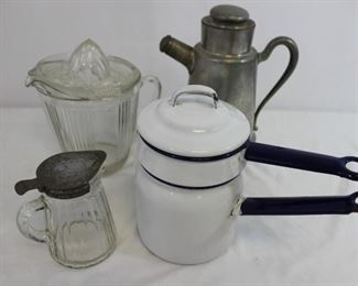 Grouping of 4 vintage morning implements: enamelware, glass and pewter