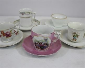 Grouping of 5 small vintage teacups