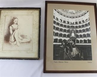 Framed lithograph/Ballet Dancer and Photo/Teatro Messimo Bellini