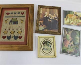 5 vintage framed prints