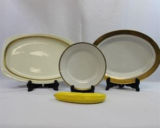 Assortment of Gold Rimmed Serving Dishes