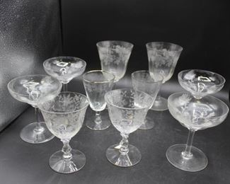 Assortment of Vintage Floral Etched Glass Wine & Martini Glasses