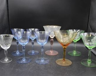Assortment of Vintage Etched Glass Wine Glasses