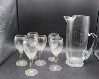 Vintage Glass Pitcher with 6 wine glasses