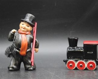 Vintage Goebel Chimney Sweep & Black Train  Figurines