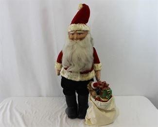 Large German Papier Mache Cloth Santa Clause w/ Bag of Toys