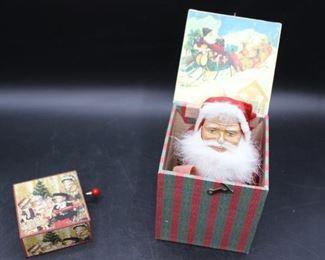 1940s Marolin Santa Claus Jack-in-the-Box & Small Vintage Wooden Music Box