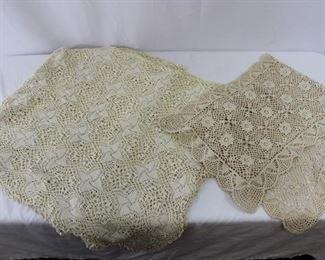 Antique Handmade Crochet Table Runner & Coverlet Tablecloth