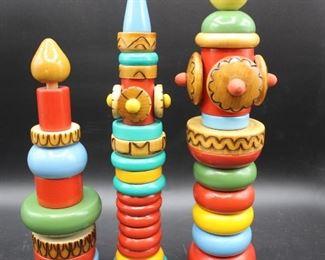 Vintage Made in Russia Stacking Towers, Matryoshka Nesting Dolls & Bogorodskoye Pecking Chickens Game
