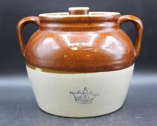 Antique Blue Crown Robinson Two Handle Bean Pot