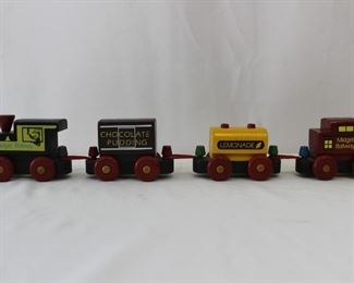 Vintage Carboard Nesting Blocks, Wood Horse Pull Toy, Kirchhof Tin Noise Maker & Wood Train Pull Toy