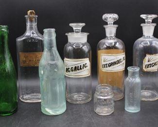 Vintage Glass Pharmacy Bottles