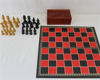 Vintage Hand Carved Chess Game Set & Gameboard