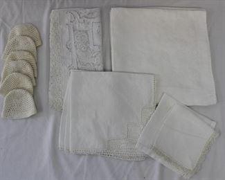 Vintage Cloth Napkins, Handkerchief, Crochet Drinking Glass Holders