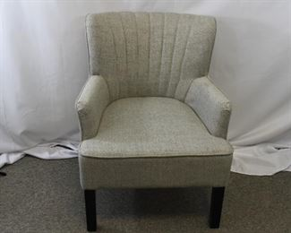Scalloped Grey & White Upholstered Armchair