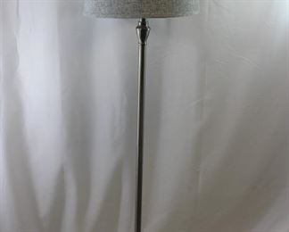 Silver Floor Lamp with Grey Linen Shade
