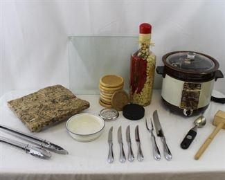Vintage Crockpot, Footed Granite Cutting Board, Serving Utensils & more!