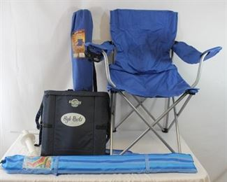 Pair of Ozark Trail Chairs, Umbrella with Anchor and Portable Stadium Chair