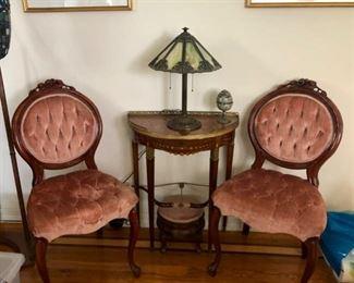 Pair antique pink velvet Parlor Chairs