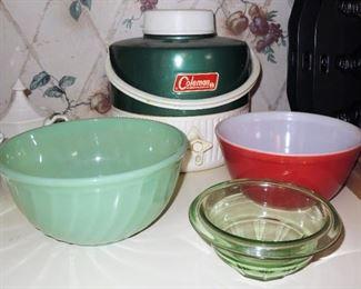Jadite green mixing bowl, Depression green bowl, Pyrex Red bowl. Old Coleman Drink cooler