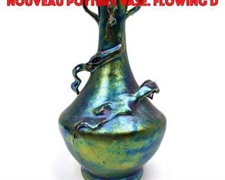 Lot 4 Blue Heliosine Ware Art Nouveau Pottery Vase. Flowing D