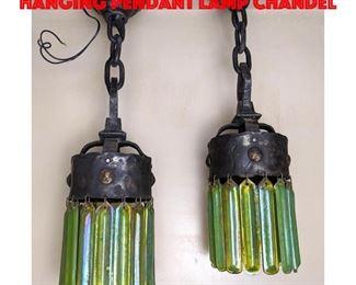 Lot 11 Pair LCT Tiffany Art Glass Hanging Pendant Lamp Chandel