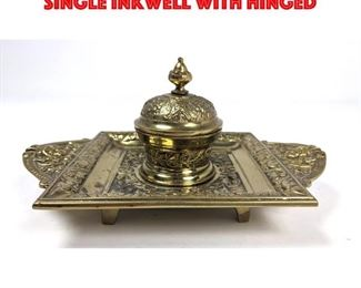 Lot 13 Fancy Brass Footed Inkwell. Single inkwell with hinged