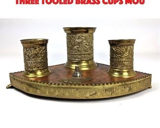 Lot 14 Vintage Brass Wood Item. Three tooled brass cups mou