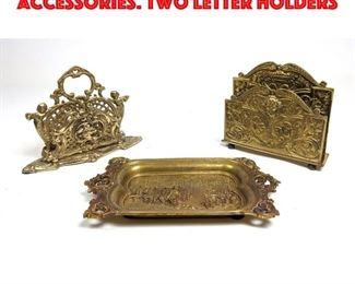Lot 16 3pcs Vintage Brass Desk Accessories. Two Letter Holders