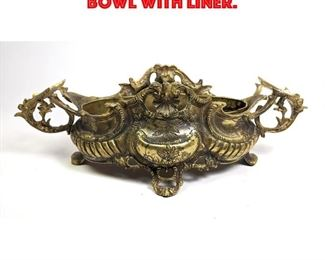 Lot 17 Ornate Metal Centerpiece Bowl with Liner.