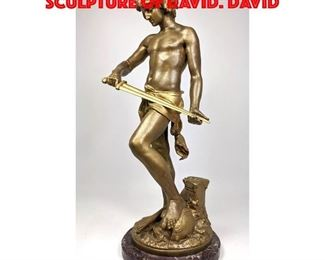 Lot 18 A GAUDEZ Gilt Bronze Figural Sculpture of David. David