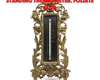 Lot 24 Ornate Brass Vintage Standing Thermometer. Foliate Flor