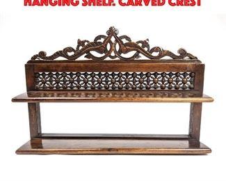 Lot 25 Vintage Wood Stick and Ball Hanging Shelf. Carved Crest