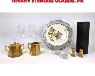Lot 27 10pc Table Shelf Lot. Two TIFFANY Stemless Glasses. Pr