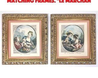 Lot 36 Pr French Prints. Vintage. Matching Frames. Le Marchan