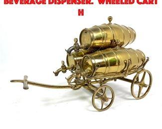 Lot 39 Figural Brass Wagon Beverage Dispenser. Wheeled cart h