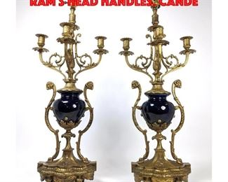 Lot 41 Pr Regency style Table Lamps. Ram s Head handles. Cande