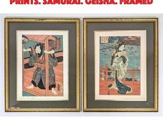 Lot 42 2pcs Japanese Woodblock Prints. Samurai. Geisha. Framed
