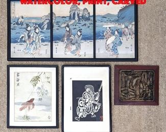 Lot 46 4pcs Asian. Triptych Print, Watercolor, Print, carved
