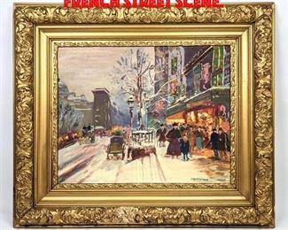 Lot 48 M. BURROUGHS Oil Painting French Street Scene.