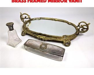 Lot 53 3pc Vanity Dresser Top Items. Brass Framed Mirror Vanit