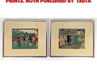 Lot 59 2pc Japanese Woodblock Prints. Both published by Tsuta
