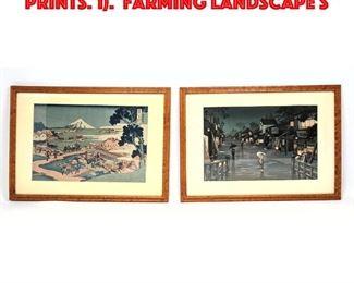 Lot 68 2pc Japanese Woodblock Prints. 1. Farming Landscape S