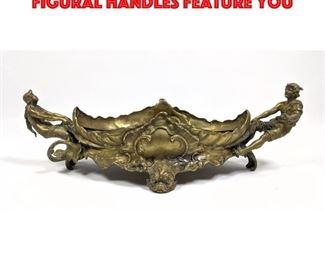 Lot 75 Vintage Bronze Center Bowl. Figural handles feature you
